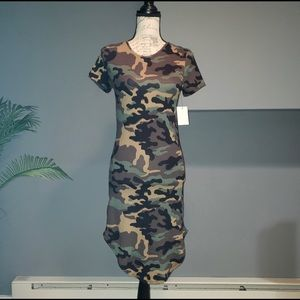 NWT Vibe Camouflage Grommet Back Tie BodyCon Dress